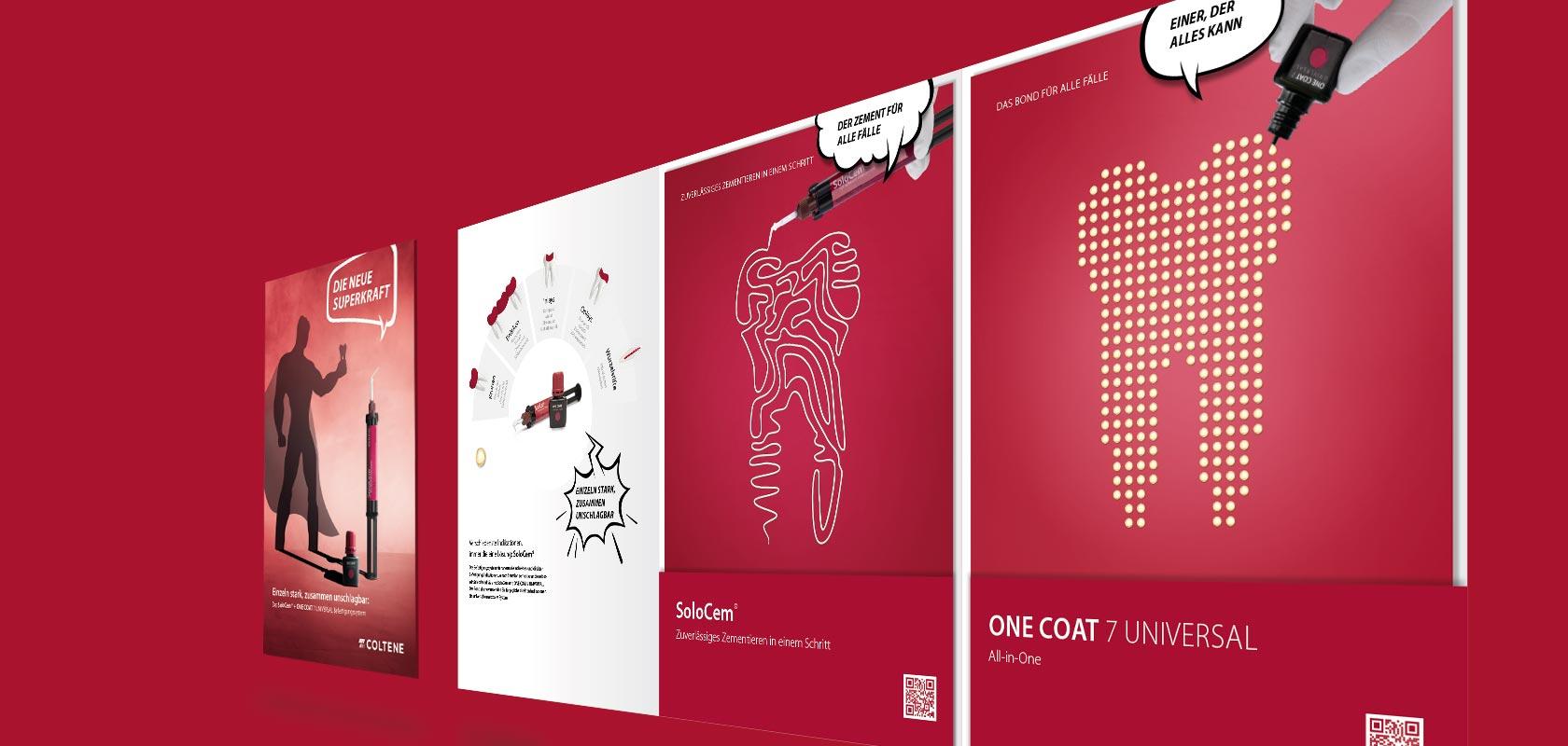 Coltene Produktkampagne Superkraft - Mappe und Broschüren
